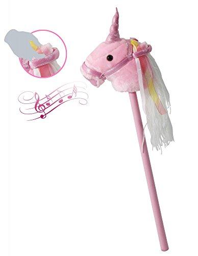 Megasparmarkt Steckenpferd Einhorn für Kinder Stockpferd | Plüsch mit Sound rosa süßes Spielzeug | Mädchen