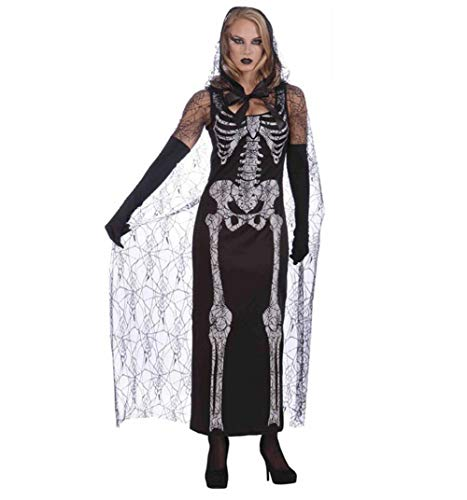 Geist Braut Skeleton Kostüm Damen Erwachsene Maskerade Cosplay Party Bar Schwarz Weiß ()