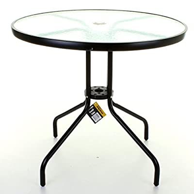 Marko Outdoor Decorative Thick Glass Top Table with Metal Frame Legs Freestanding