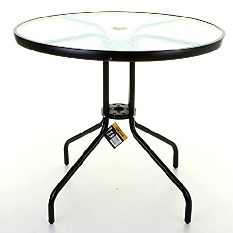 Marko Outdoor Decorative Thick Glass Top Table with Metal Frame