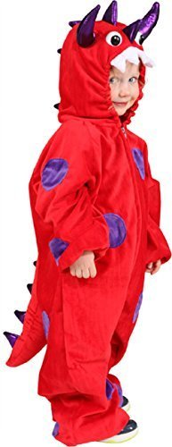 Fancy Me Mädchen Jungen Unheimlich Rot Monster Drachen Halloween Welttag des Buches-Tage-Woche Karneval Kostüm Kleid Outfit - Rot, 8-12 years (140/152cm)