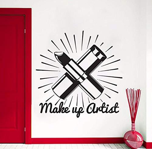 (Dalxsh Makeup Worte Aufkleber Wandaufkleber Schönheitssalon Kosmetik Wand Lippenstift Makeup Wandkunst Wand Schönheitssalon Dekoration 56X56 Cm)