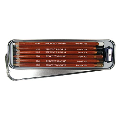 Derwent Drawing - Lápices de dibujo (6 colores de madera, en estuche de metal)