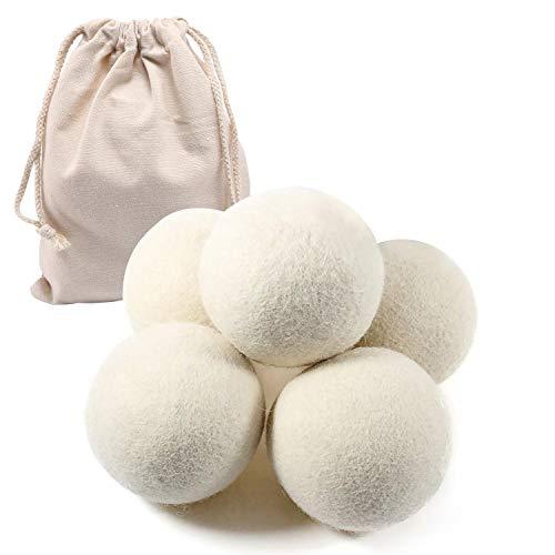 Aolvo handgemachte Trocknerbälle aus natürlicher Bio-Baumwolle, 6er-Pack, Weichmacher, antistatisch, verkürzt die Trocknungszeit, extra groß, weiß -