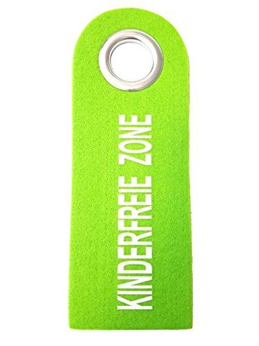 Türschild Filz mit Metallöse Türhänger Home Dekoschild Deko Schild Türanhänger Türhänger für Türklinke (Kinderfreie Zone - Grün) (Home Schilder)