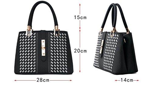 KYFW Damen-Beutel-Handtaschen-Schulter-Beutel-Kurier-Beutel-Stickerei Einfache Stilvolle Klassische Elegante Damen-Tasche B