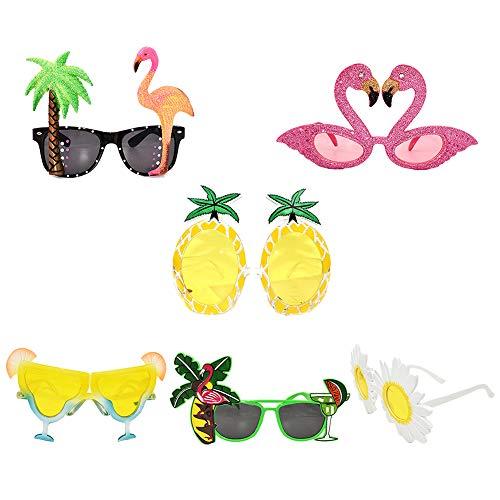6 Paar lustige Sonnenbrille, Hawaiianische tropische Sonnenbrille, Party-Brille, kreatives Kostüm, Sonnenbrille für Luau Kostümparty, Hawaii, Mottoparty, Strand, Foto-Requisiten (Kreative Paar Kostüm)