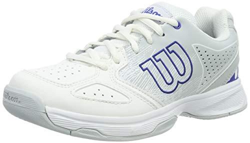 Wilson STROKE JR, Scarpe da Tennis Unisex-Bambini, Bianco/Blu (White/Pearl Dazzling Blue), 34 2/3 EU