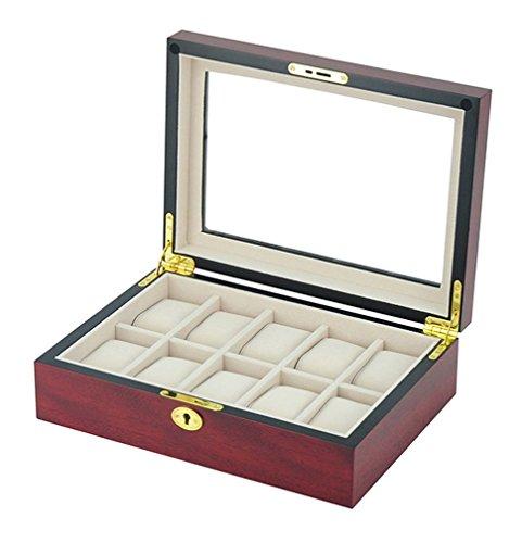 Uhrenbox Holz 10 Uhren Sichtfenster aus Echtglas Kirsche Uhrenvitrine Uhrenschatulle