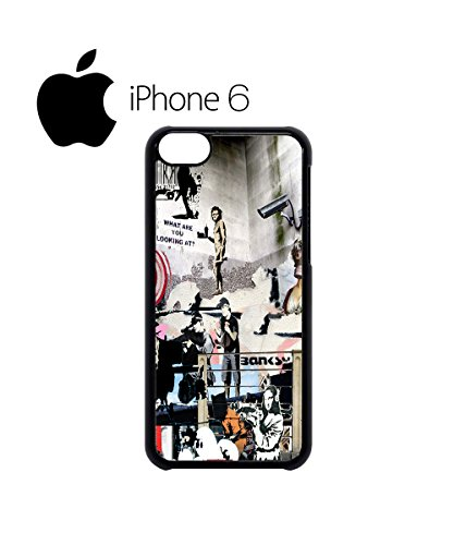 Banksy Street Art Graffiti Cool Swag Mobile Phone Case Back Cover Coque Housse Etui Noir Blanc pour iPhone 6 White