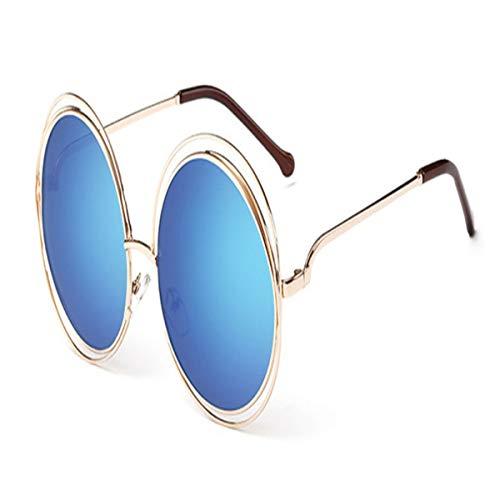 Sport-Sonnenbrillen, Vintage Sonnenbrillen, Vintage Round Big Size Oversized Lens Mirror Sunglasses Women Metal Frame Lady Sun Glasses Lady Cool Retro 9-Gold-Blue