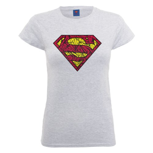 DC Comics Damen, T-Shirt, Official Superman Shatter Logo Womens T-Shirt grigio (Heather Grey)