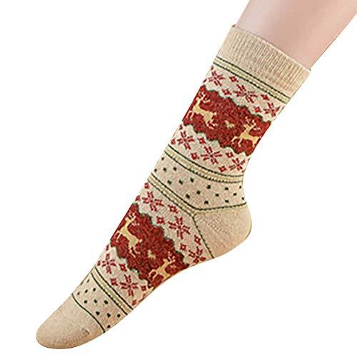 CommittedeDamen Cartoon Elk Socken Weich Elastisch Sport Socken Strümpfe Füßlinge Bunt Motiv Weihnachtssocken Christmas Socks Weihnachtsmotiv Festlicher (Sportliche Sock Quarter)