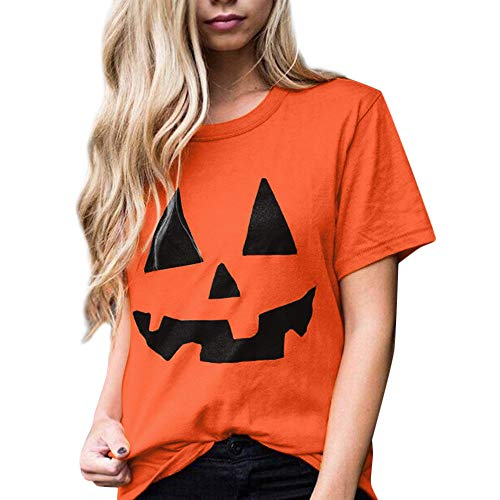 serliy Frauen Casual Kurzarm Halloween Kürbis Print Bluse Tages Tops T-Shirt Blusen Taschen Hemd Kleider Karikatur Kapuzenmantel Mantel Kleidung langärmlig Knopfleiste schöne ()