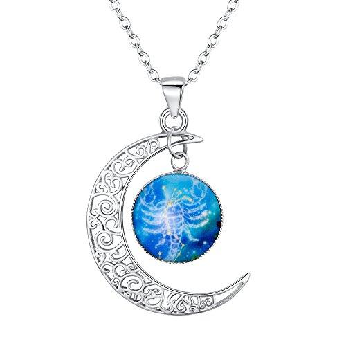 amen 925 Sterling Silber Horoskop Tierkreis 12 Konstellation Astrologie Galaxis & Halbmond Mond Glas Bead Anhänger Hals-Schmuck Skorpion ()