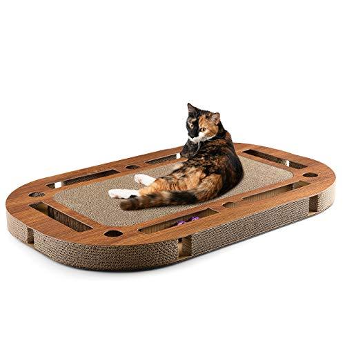 CanadianCat Company ® | Katzenspielplatz 85 x 54 x 5,8 cm mit integrierter Kratzpappe Katzenspielzeug Kratzbrett aus Wellpappe handgefertigt -