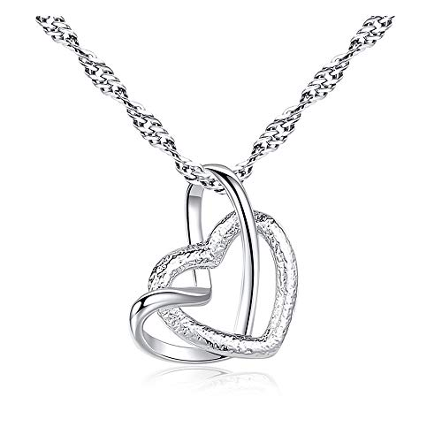 Liquidazione Collana gioielli in cristallo con strass argento catena pendente regalo romantico (Argento 3)