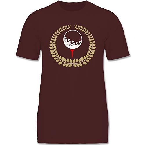 Sport Kind - Lorbeerkanz Golfball Golf-Tee - 122-128 (7-8 Jahre) - Burgund - F140K - Jungen T-Shirt
