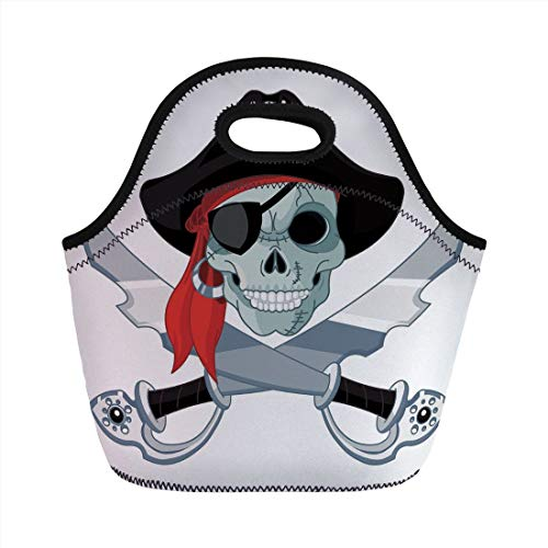 Jieaiuoo Portable Lunch Bag,Pirate,Skull of Criminal Rogue Eye Patch Headscarf Iconic Hat Crossed Knifes Daggers,Black Grey Red,for Kids Adult Thermal Insulated Tote Bags - Rogue Pirate