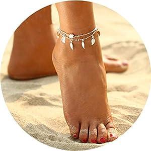 Chicer Cavigliera alla moda con perline d'imitazione, regolabile, per donne e ragazze, ideale per la spiaggia