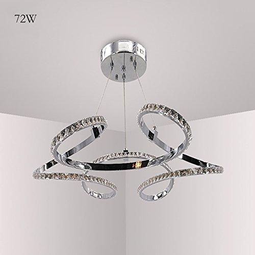 72 LED Pendelleuchte Leuchtstarke Modern Hängeleuchte Kristalllampe Kronleuchter für Wohnzimmer Esszimmer Küche Arbeitszimmer Decken Beleuchtung aus Aluminium und Kristall 5400 lumens Ø68cm H 100cm (Kaltweiß Licht) (Runden 72 Esstisch)