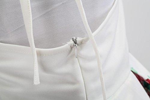 Rcool Vestito Donna , sexy Vintage elastico Maxi abito da sera da sera con maniche lunghe party in tessuto stampato a fiori Bianca