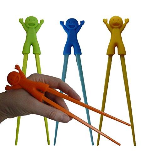 Unique Boutique - 4er Set Essstäbchen grün Gelb Orange Blau Junge für Anfänger Kinder Senioren Chopsticks Zum Wiederverwenden
