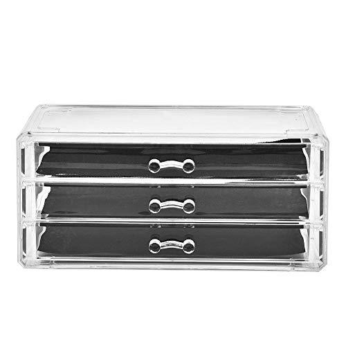 TMISHION DREI Ebenen Transparenter Make up Schreibtisch, Aufbewahrungsbox für Schubladen und Kosmetik