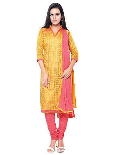 Varayu Women's Cotton Dress Material (447DJ3001_Free Size_Yellow and Peach)
