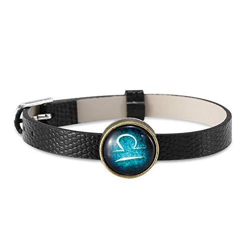 NovaLuna - Armband Sternzeichen 'Shine Zodiac' aus schwarzem Kunst Leder mit Gürtel Verschluss- Horoskop Schmuck mit blauem Stein Anhänger -Herren und Damen -Tierkreis Accessoire- Waage