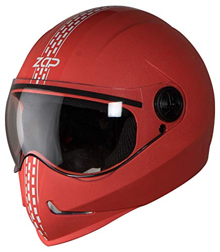 Steelbird SB-50 Adonis Zap Dashing Full Face Helmet Red with Silver (Large 600 MM, Plain Visor)