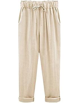 AnyuA Mujer Tallas Grandes Harem Pantalones Ligeros De Tejido Fluido