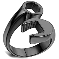 Flongo Men's Punk Stainless Steel Black Spanner Mechanic Wrench Tool Polished Ring, Size Z+1