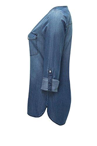 Jacqueline de Yong Only Damen Jeans-Bluse Jeanshemd Langarmbluse Tunika Medium Blue Denim