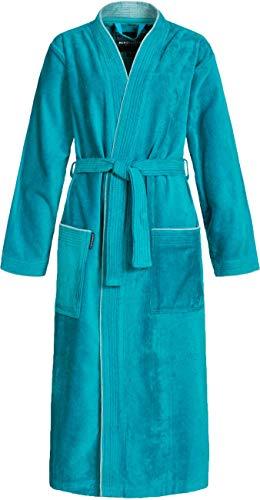 Morgenstern Bademantel für Damen aus Bio Baumwolle ohne Kapuze in Petrol Haus Bademantel lang Dusch Bademantel Velours Größe L Lotte