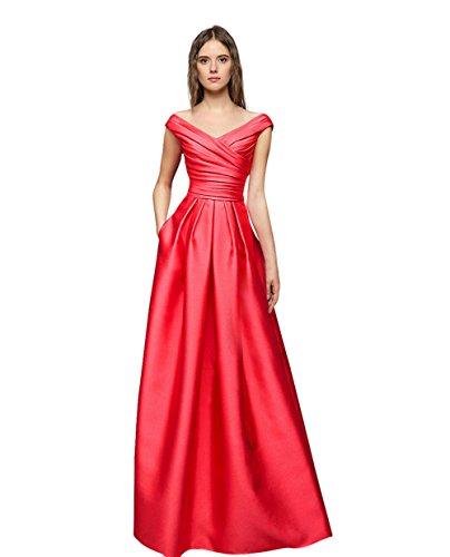 Dream Bride Abiti da sera Donne Coral-line una lunga sexy abiti da ballo abito da sera con scollo a V da cocktail