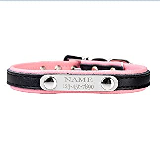 Mogoko Personalized Pet Dog Collars, Luxury PU Leather Adjustable Metal Buckle Neck Collar, Name Phone Engraved Custom Puppy ID Tag Charm Plate Mogoko Personalized Pet Dog Collars, Luxury PU Leather Adjustable Metal Buckle Neck Collar, Name Phone Engraved Custom Puppy ID Tag Charm Plate 41lzZH2xCDL