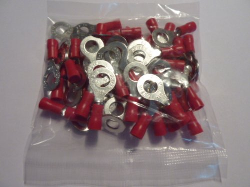profitec 50 Stück Kabelschuh Ring M 6 rot für Kabel 0,5 mm² - 1,5 mm²