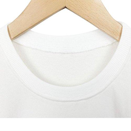 BLACKMYTH Donna Casual Felpe Stampate Manica Lunga Drucken Mode Pullovers Sweatshirts Bianco