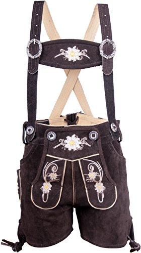 Almwerk Kinder Trachten Lederhose kurz in braun, hellbraun, schwarz und rot, Kindergrößen:104 - 3-4 Jahre. 99-104 cm;Farbe:Braun (Leder-hose Für Jungen)