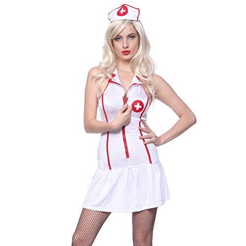 Sexy 3tlg Krankenschwester Kostuem Schwester Arzt Aerztin Nurse Uniform Kleider Minikleid Hut String Fasching Karneval Weiss Gr.M (Uniform Kleid Weiße)