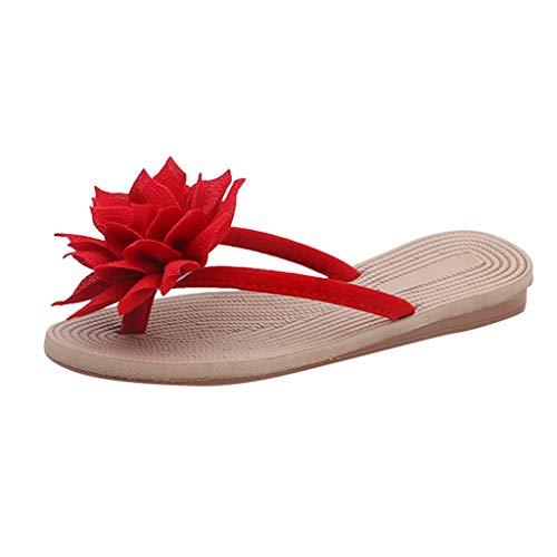 Yesmile Damen Sandalen Rutschfeste Flip Flops Sommer Frauen Blumen Hausschuhe Flachen Flops Strand Schuhe Freizeit Sommerschuhe Elegante