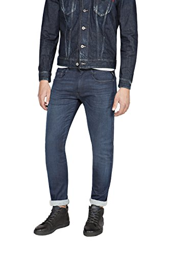 Replay Herren Slim Jeans Blau (Blue Denim 7)
