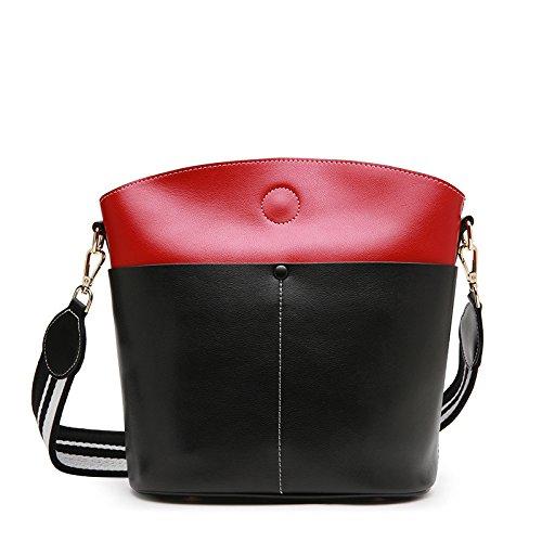 GUANGMING77 _ Borsa Benna A Molla Sacco Sacco Grande Colore Tracolla Messenger Sig.Ra,Colore Caramello Black with red
