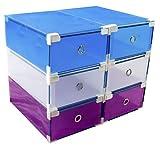 6 Cajas almacenaje apilables y reforzadas para Zapatos de plastico y Transparente, utilizables como...