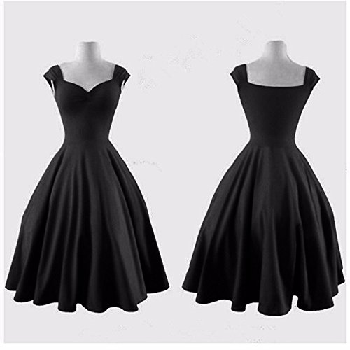 Europe Retro Femmes Grande Hem Encolure Bateau Cintree Bouffant Princess Dress Noir