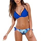 SHE.White Damen Hals hängen Bademode Bikini Set Bandage Push Up BH Beachwear Damen Neckholder Bikini Set Triangel Bikinis Badebekleidung Zweiteilige Strand Badeanzug