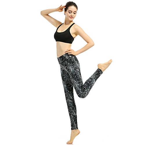 Phennie's Femme Yoga Pantalon Collant d'Entraînement Imprimé Taille Haute pour Femme Fille Nylon Sport Leggings avec une Poche Stretch Yoga Pilates Jogging Running Pants jogging Gaine de Femme Noir/Blanc