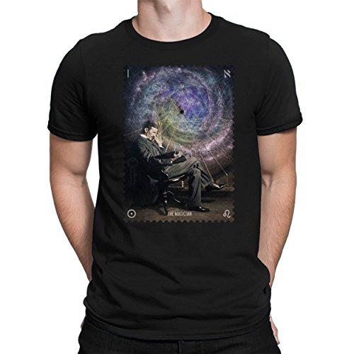 PAPAYANA - Nikola-Tesla-Magician - Herren Fun T-Shirt - Bedruckt - XL Schwarz
