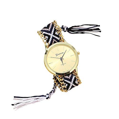Soul Sisters Handmade Reloj de pulsera hippie boho Style Negro Blanco